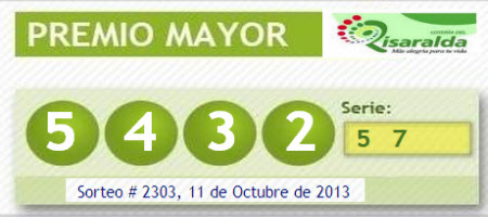 Resultado lotería de risaralda viernes 11 de octubre de 2013