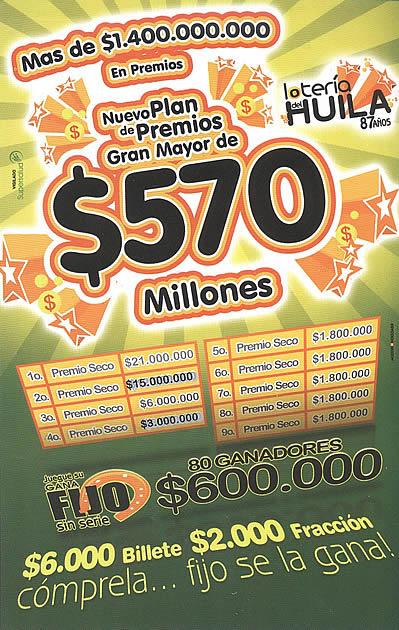 plan de premios loteria del huila premio mayor y secos